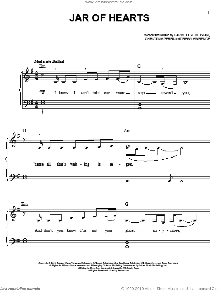 Jar Of Hearts sheet music for piano solo by Christina Perri, easy skill level