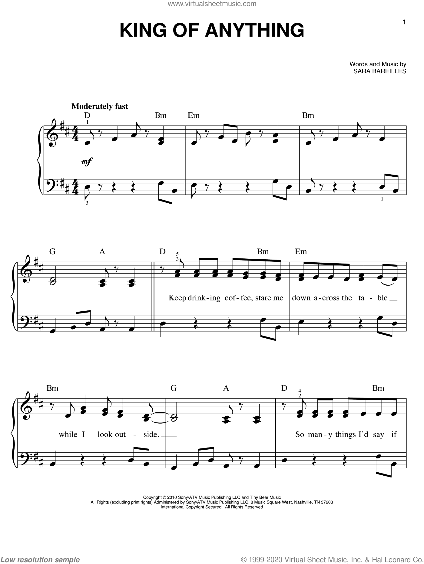 King Of Anything sheet music for piano solo by Sara Bareilles, easy skill level