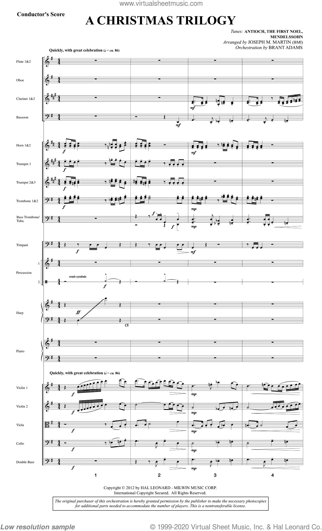 A Christmas Trilogy (from Carols For Choir And Congregation) sheet music for orchestra/band (score) by Joseph M. Martin