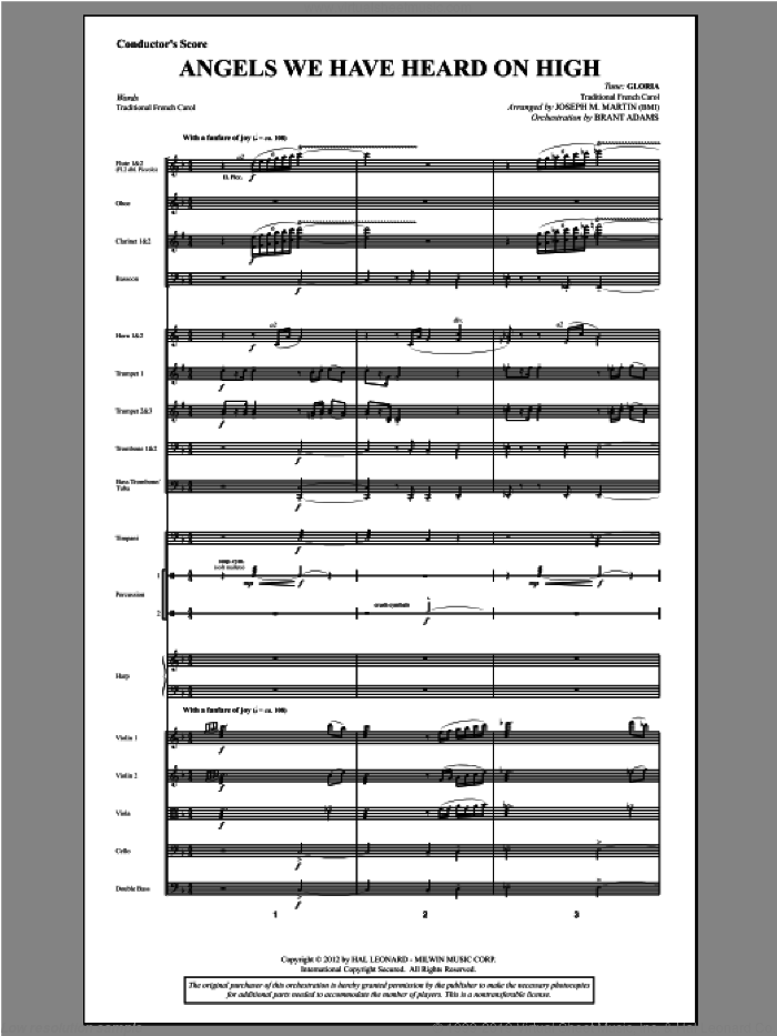 Angels We Have Heard On High (from Carols For Choir And Congregation) (COMPLETE) sheet music for orchestra/band by Joseph Martin and Joseph M. Martin, intermediate. Score Image Preview.