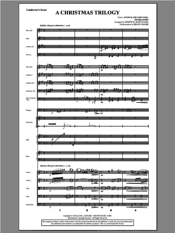 A Christmas Trilogy (from Carols For Choir And Congregation) (COMPLETE) sheet music for orchestra/band by Joseph Martin and Joseph M. Martin, Christmas carol score, intermediate orchestra/band. Score Image Preview.