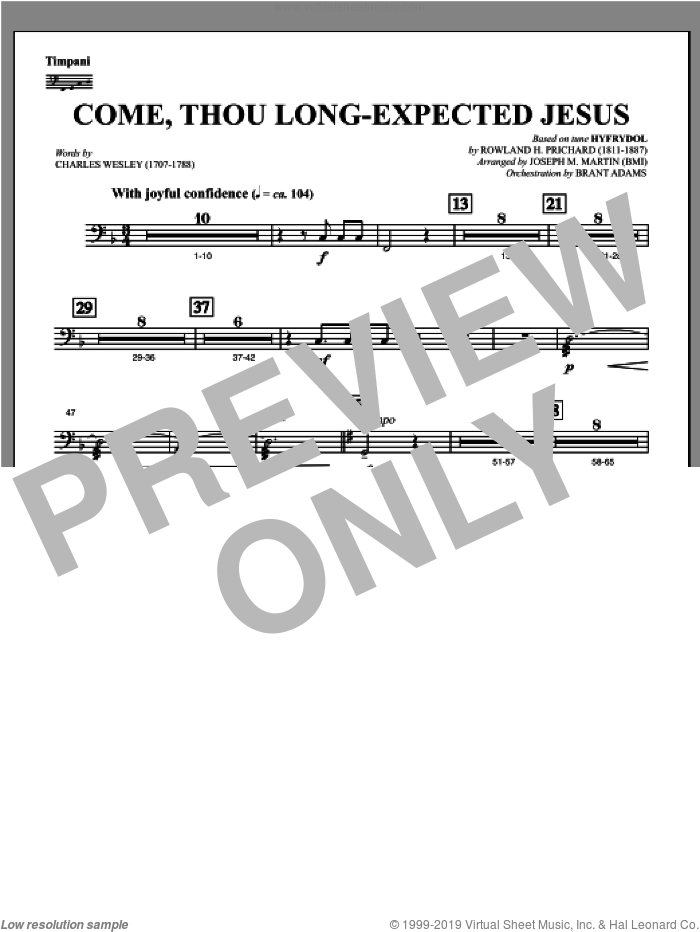 Come, Thou Long-Expected Jesus (from Carols For Choir And Congregation) sheet music for orchestra/band (timpani) by Joseph M. Martin