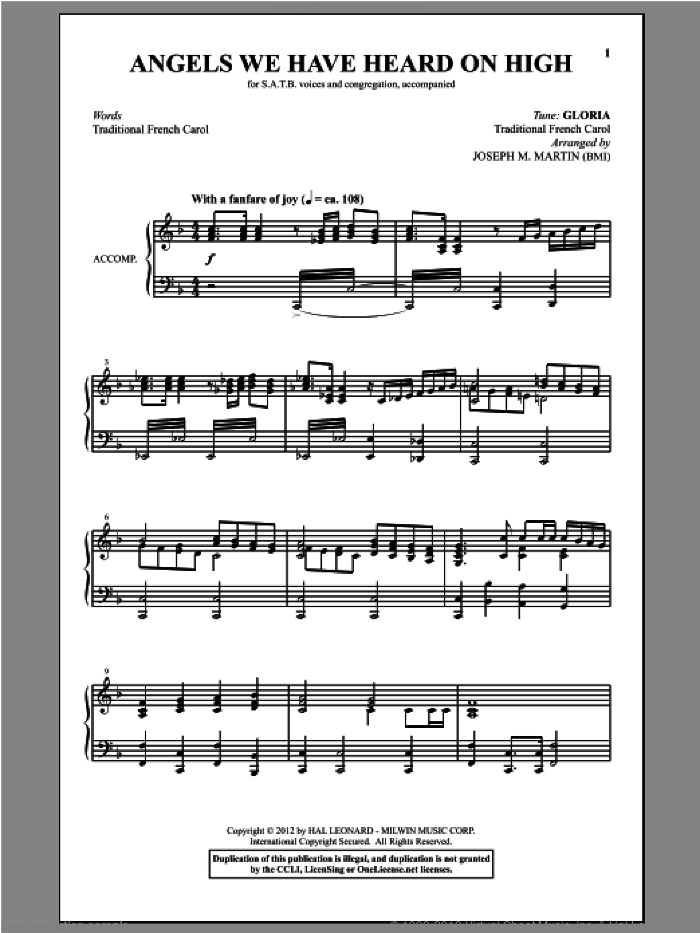 Angels We Have Heard On High (from Carols For Choir And Congregation) sheet music for choir and piano (SATB) by Joseph M. Martin