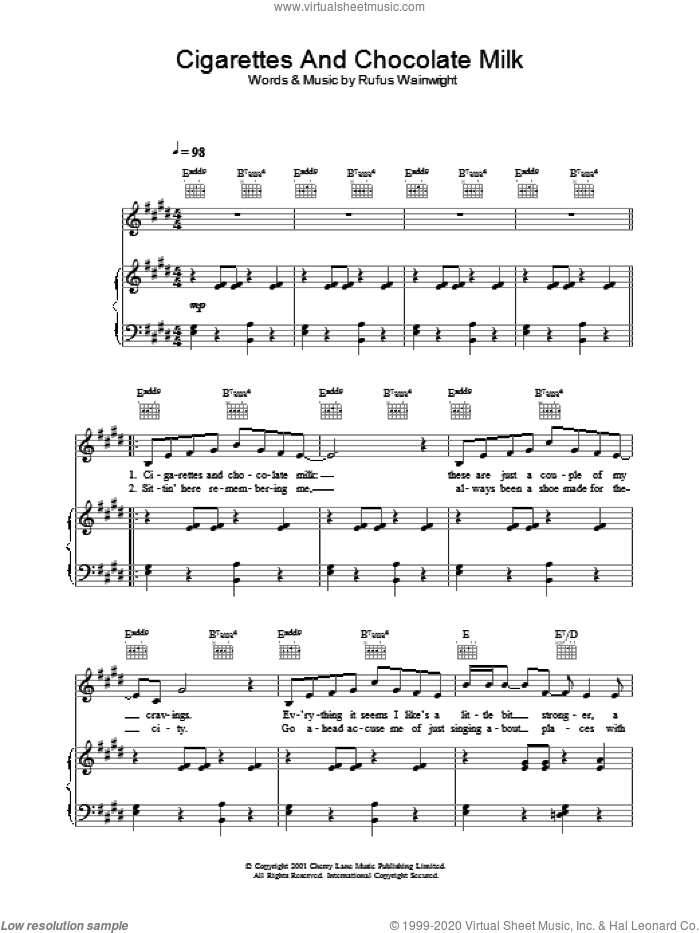 Cigarettes And Chocolate Milk sheet music for voice, piano or guitar by Rufus Wainwright, intermediate skill level