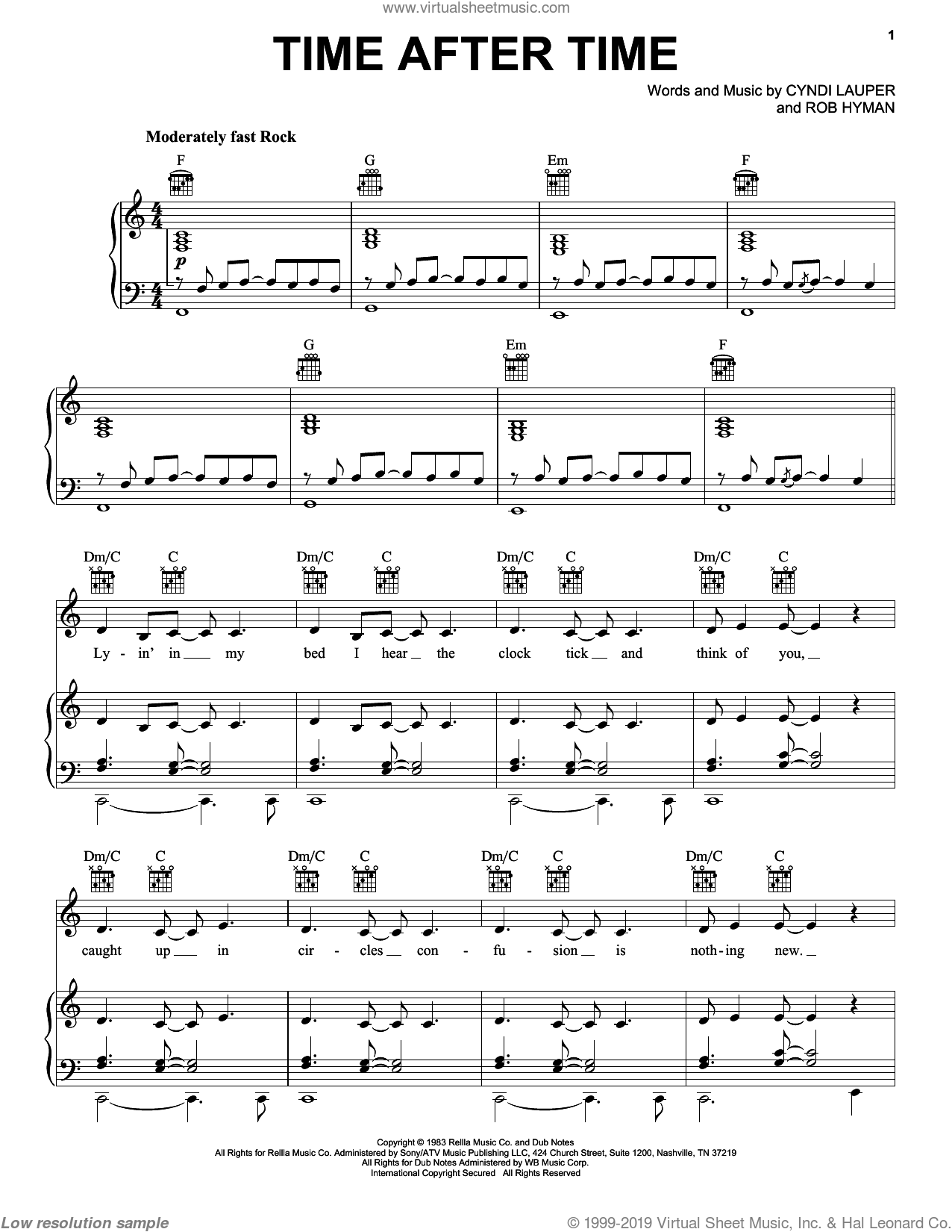 Time After Time sheet music for voice, piano or guitar by Cyndi Lauper, Inoj and Rob Hyman, intermediate skill level