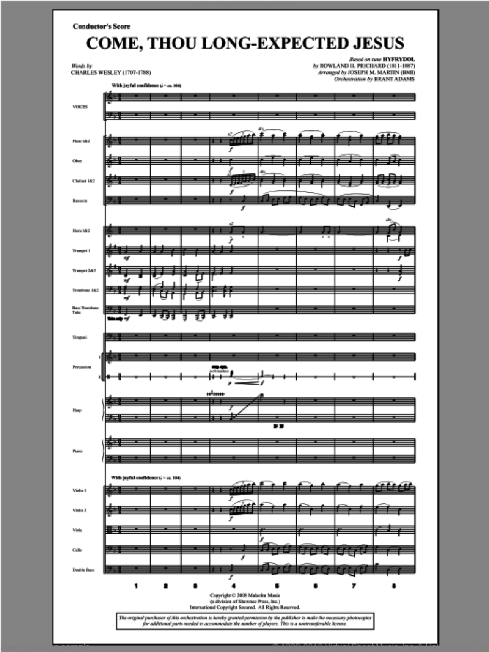 Come, Thou Long-Expected Jesus (from Carols For Choir And Congregation) (COMPLETE) sheet music for orchestra/band by Joseph Martin and Joseph M. Martin, intermediate skill level