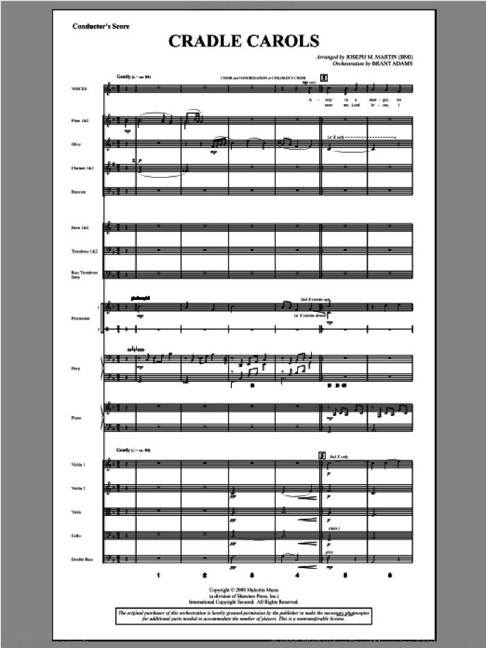Cradle Carols (from Carols For Choir And Congregation) (COMPLETE) sheet music for orchestra/band by Joseph Martin and Joseph M. Martin, intermediate skill level