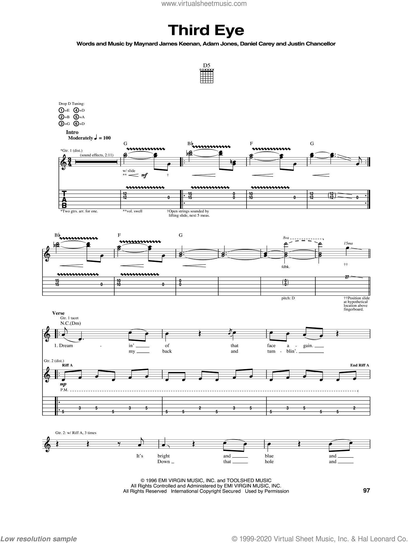 Third Eye sheet music for guitar (tablature) by Tool. Score Image Preview.