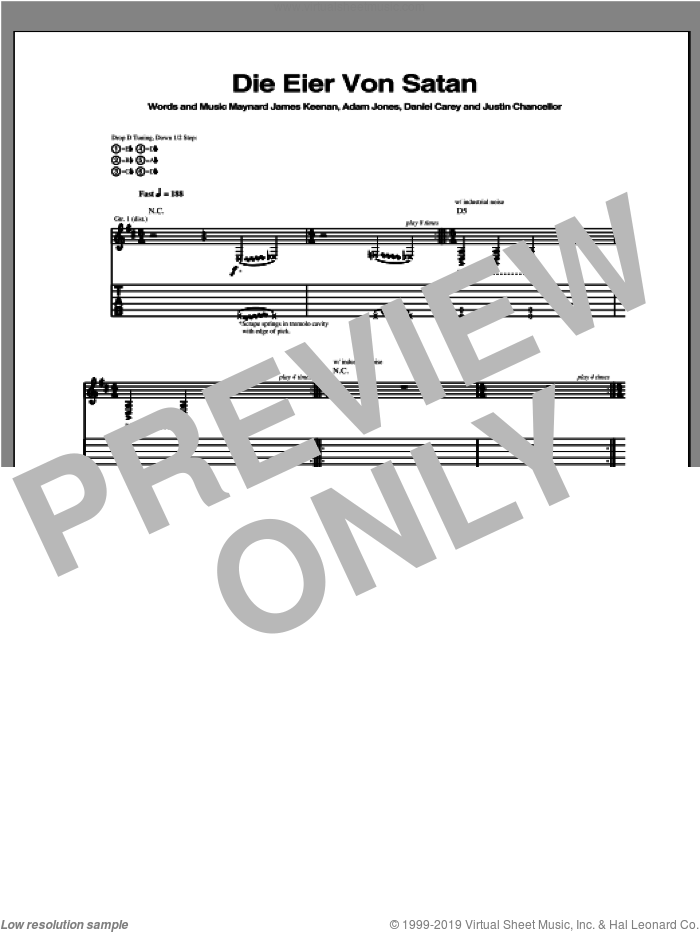Die Eier Von Satan sheet music for guitar (tablature) by Tool