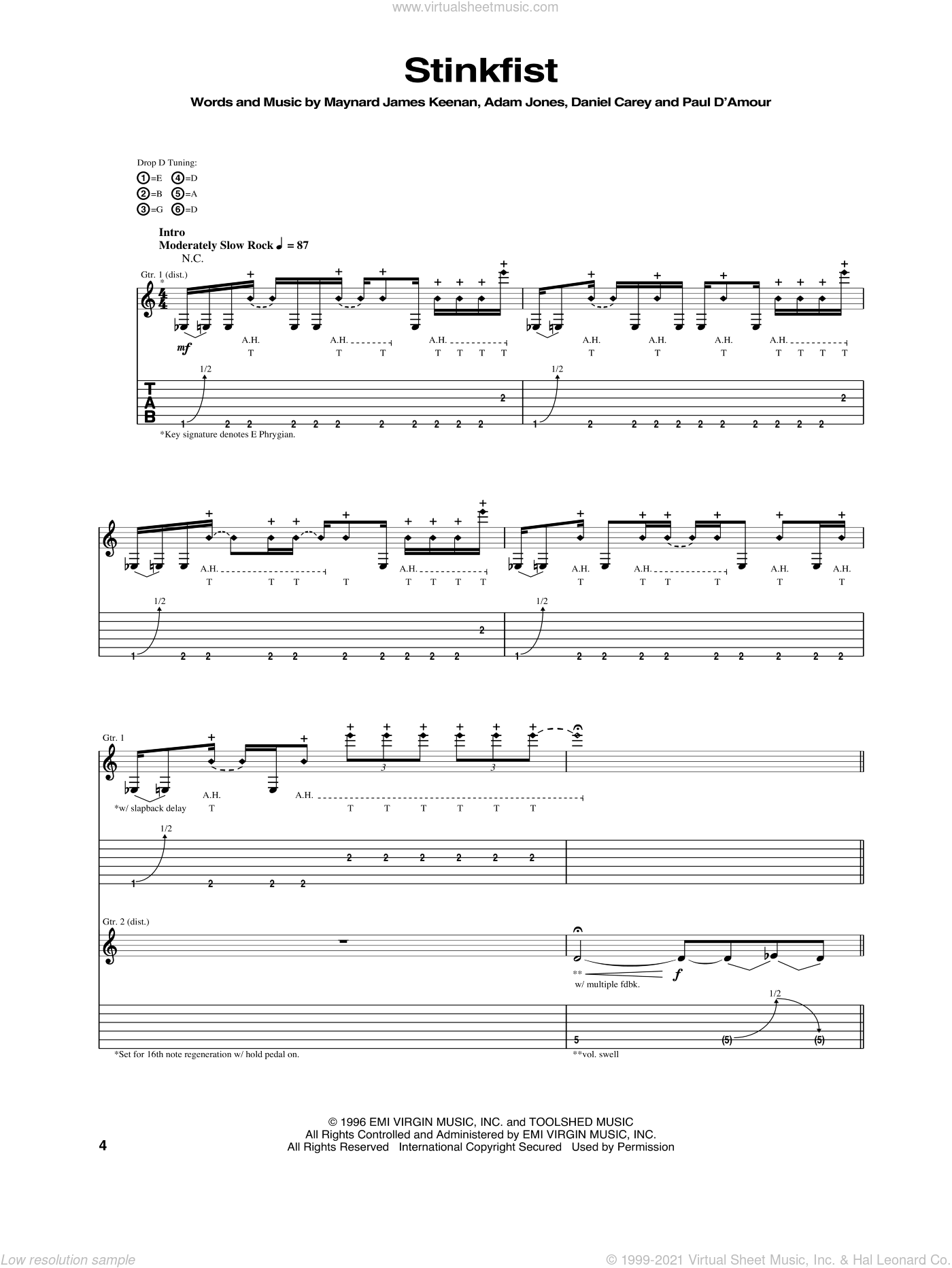 Stinkfist sheet music for guitar (tablature) by Tool. Score Image Preview.