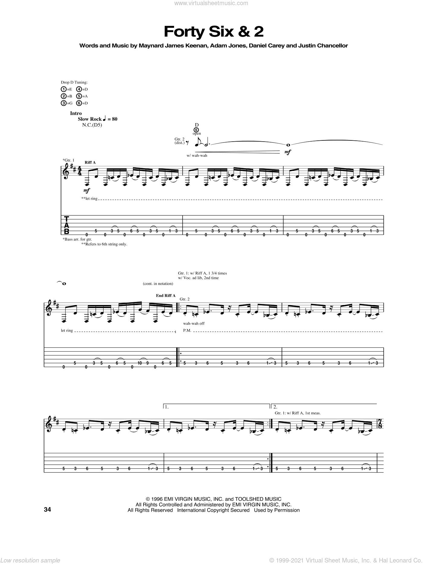 Forty Six and 2 sheet music for guitar (tablature) by Tool, intermediate. Score Image Preview.