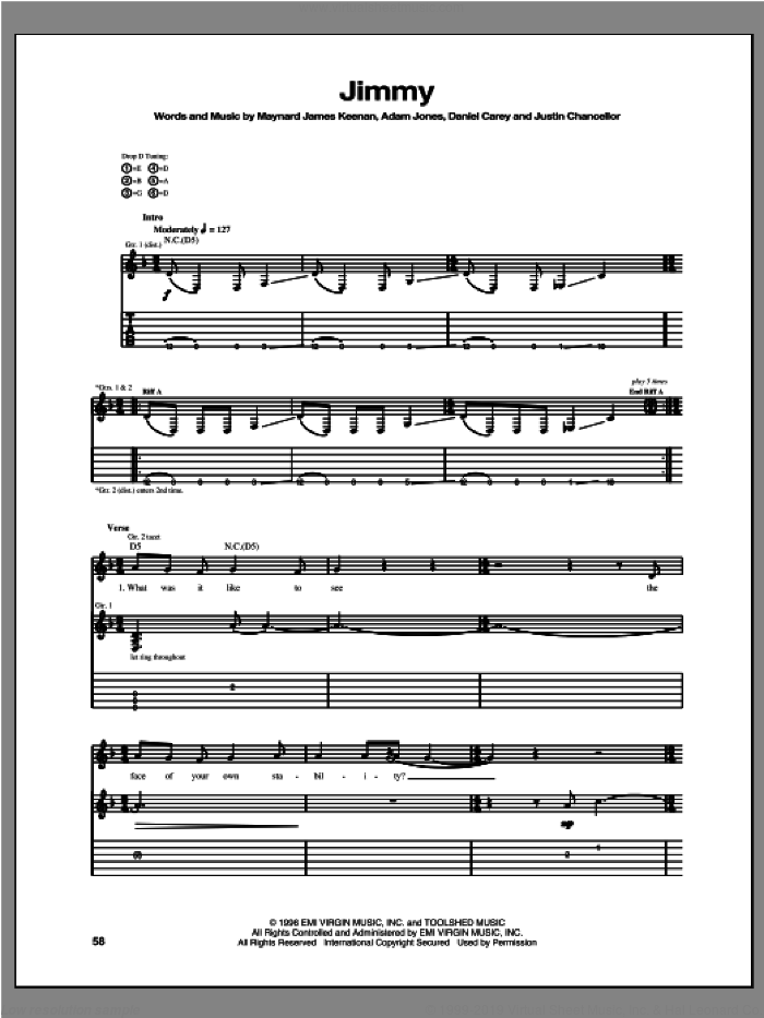 Jimmy sheet music for guitar (tablature) by Tool. Score Image Preview.