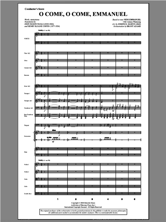 O Come, O Come, Emmanuel (from Carols For Choir And Congregation) sheet music for orchestra/band (score) by Joseph M. Martin