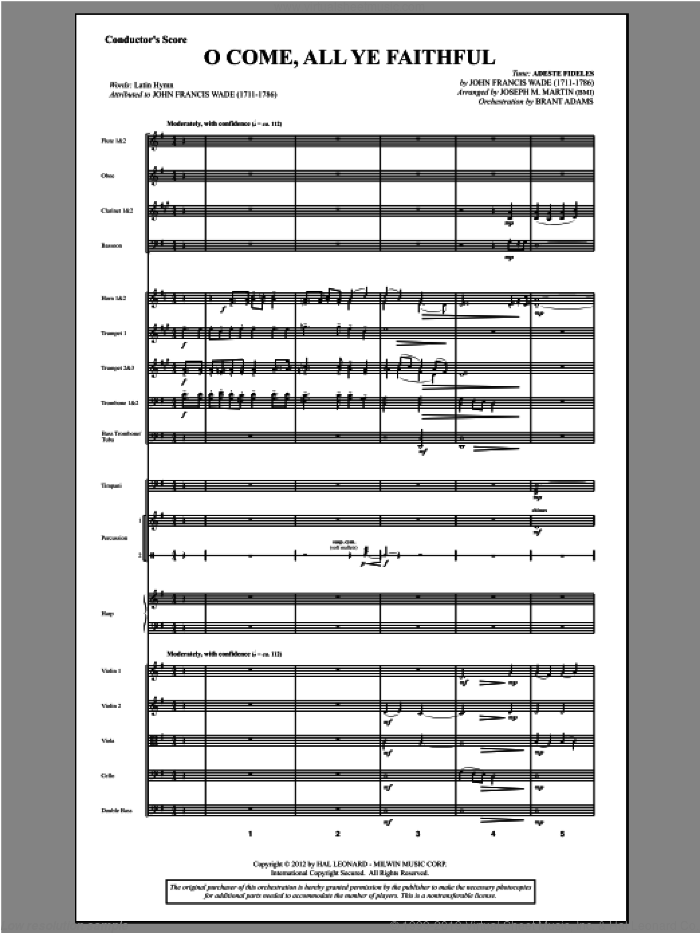 O Come, All Ye Faithful (from Carols For Choir And Congregation) sheet music for orchestra/band (score) by Joseph M. Martin