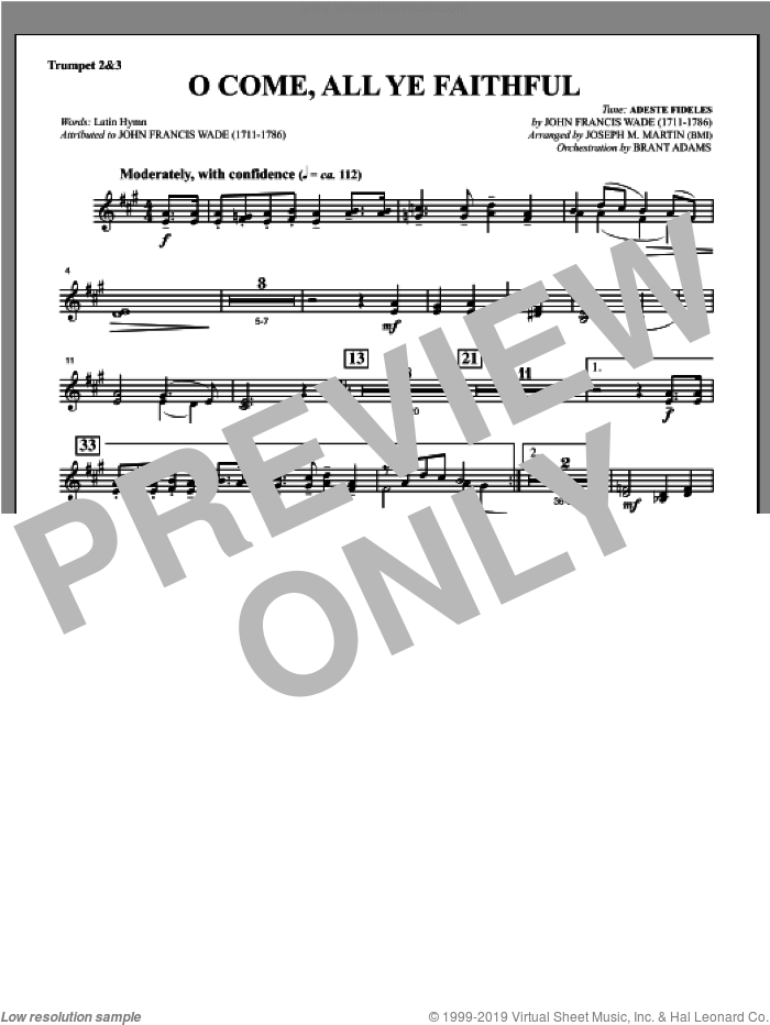 O Come, All Ye Faithful (from Carols For Choir And Congregation) sheet music for orchestra/band (Bb trumpet 2,3) by Joseph M. Martin