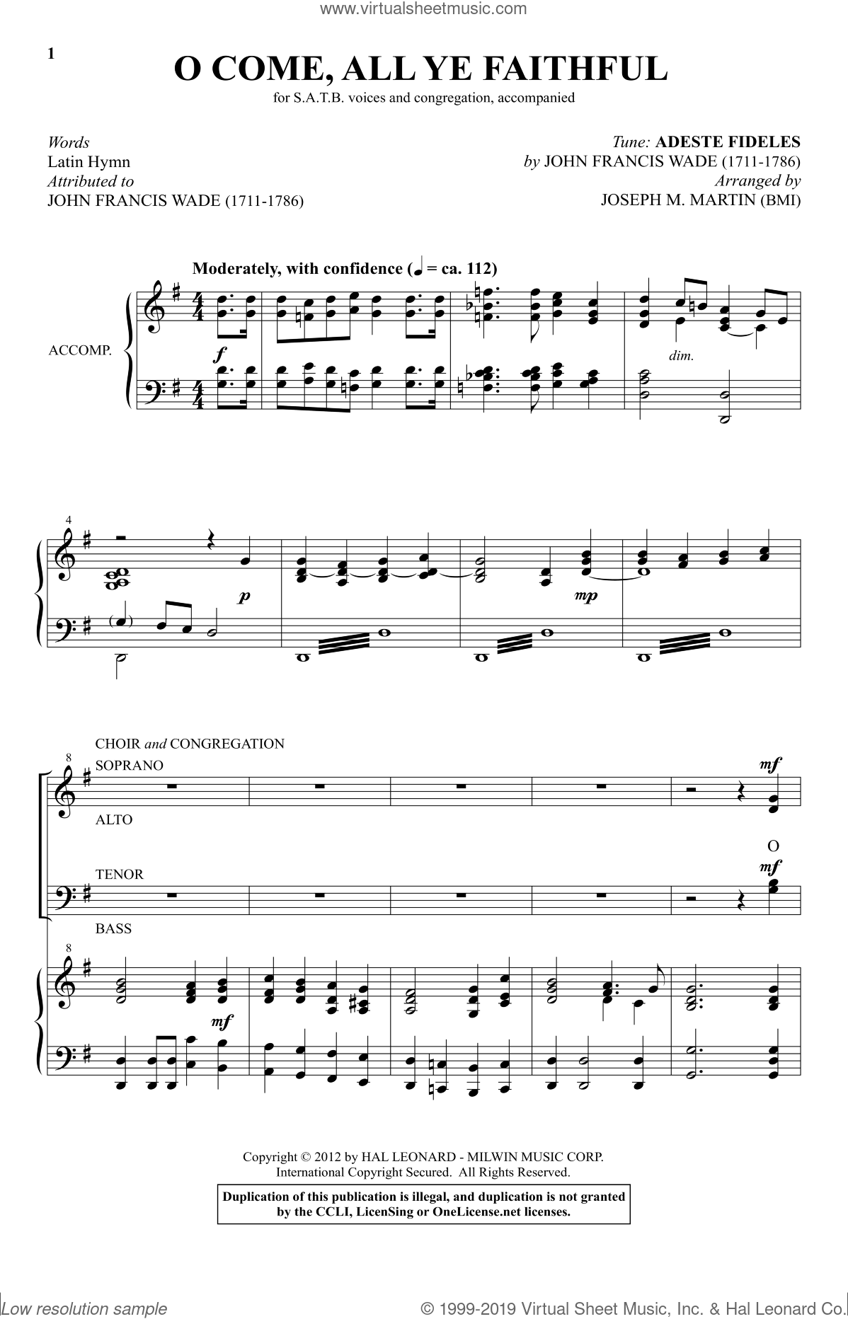 O Come, All Ye Faithful (from Carols For Choir And Congregation) sheet music for choir and piano (SATB) by Joseph M. Martin. Score Image Preview.