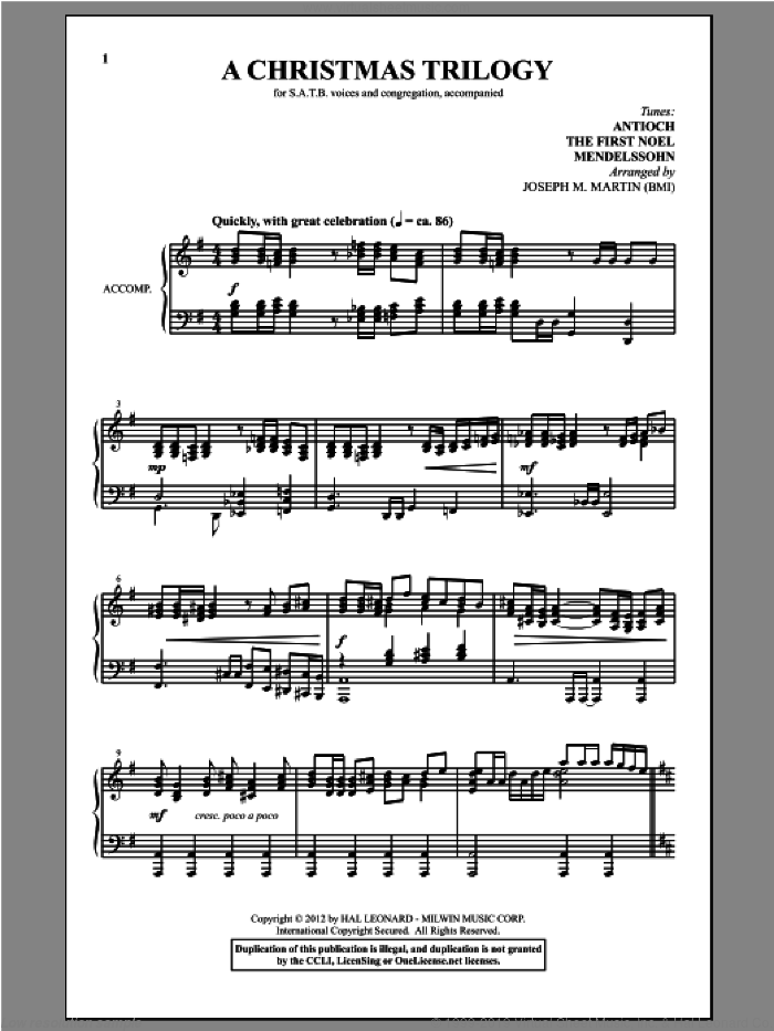 A Christmas Trilogy (from Carols For Choir And Congregation) sheet music for choir (SATB: soprano, alto, tenor, bass) by Joseph Martin and Joseph M. Martin, intermediate. Score Image Preview.