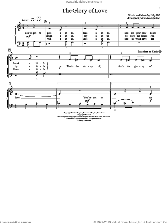 The Glory Of Love sheet music for piano solo (elementary) by Eric Baumgartner, Count Basie, Jimmy Durante and The Platters. Score Image Preview.