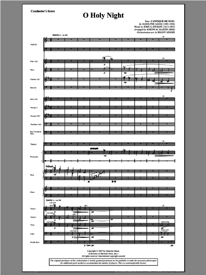 O Holy Night (from Carols For Choir And Congregation) (COMPLETE) sheet music for orchestra/band by Joseph Martin and Joseph M. Martin, intermediate skill level