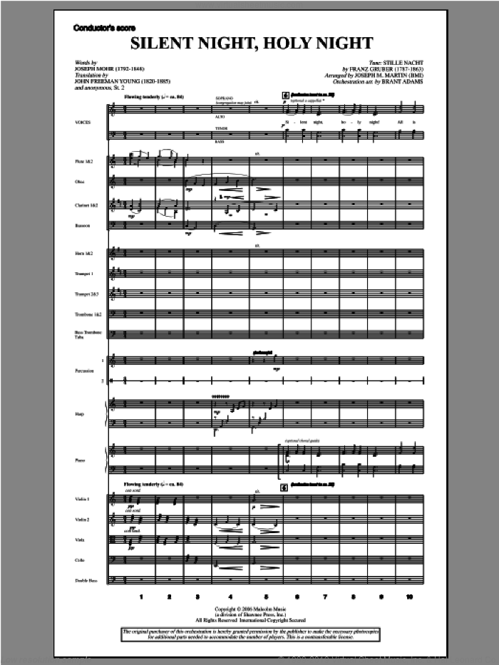 Silent Night, Holy Night (from Carols For Choir And Congregation) (COMPLETE) sheet music for orchestra/band by Joseph Martin and Joseph M. Martin, intermediate skill level