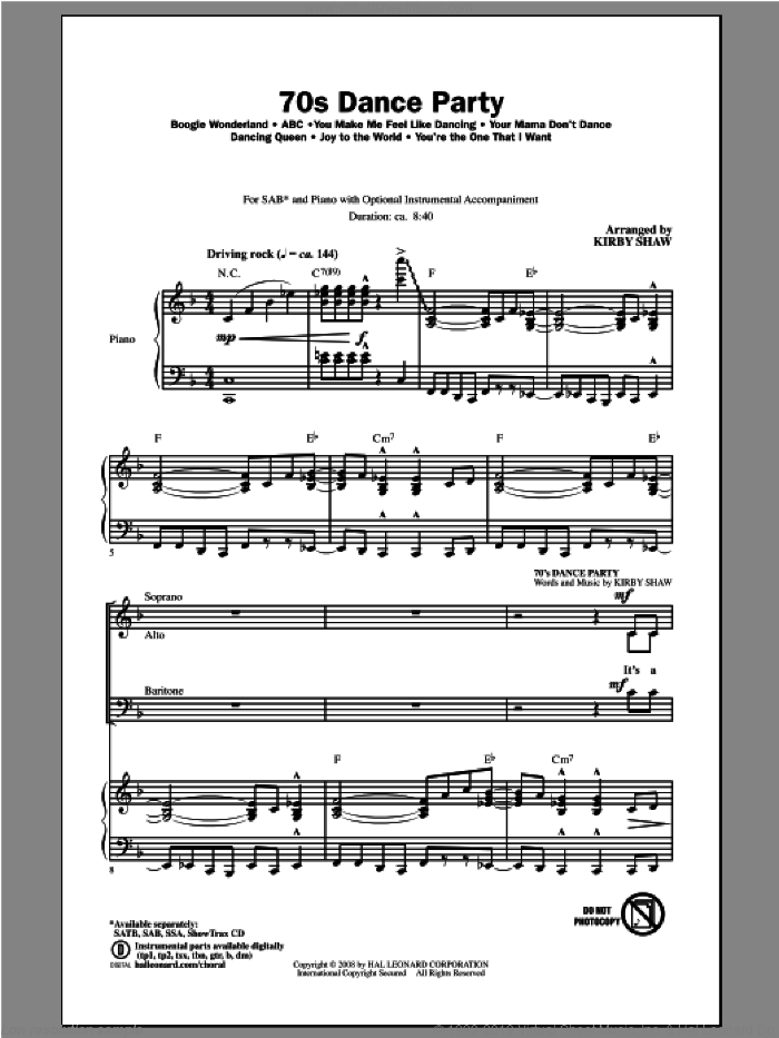 70s Dance Party (Medley) sheet music for choir (SAB: soprano, alto, bass) by Kirby Shaw, intermediate skill level