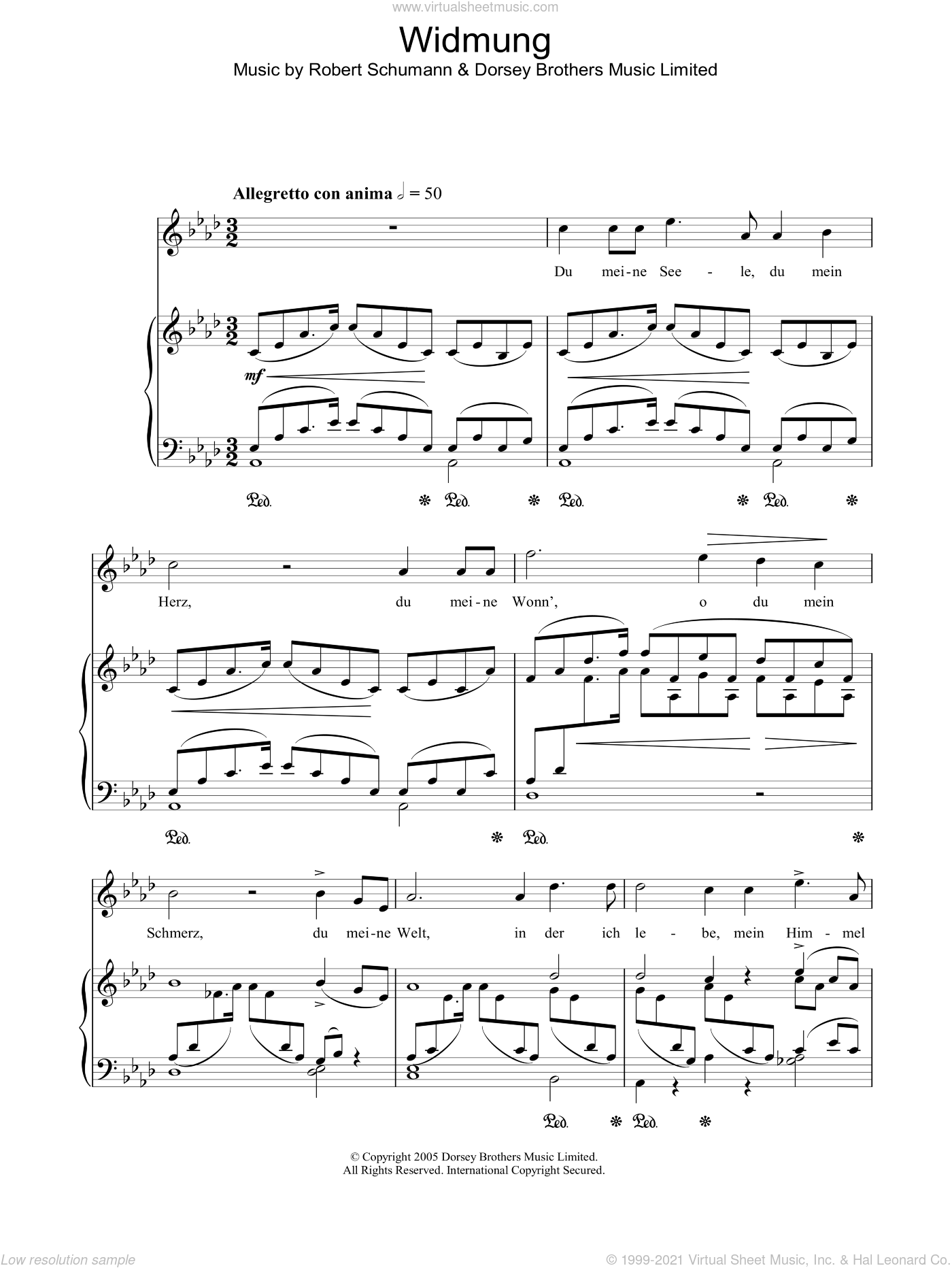 Widmung sheet music for voice, piano or guitar by Robert Schumann. Score Image Preview.
