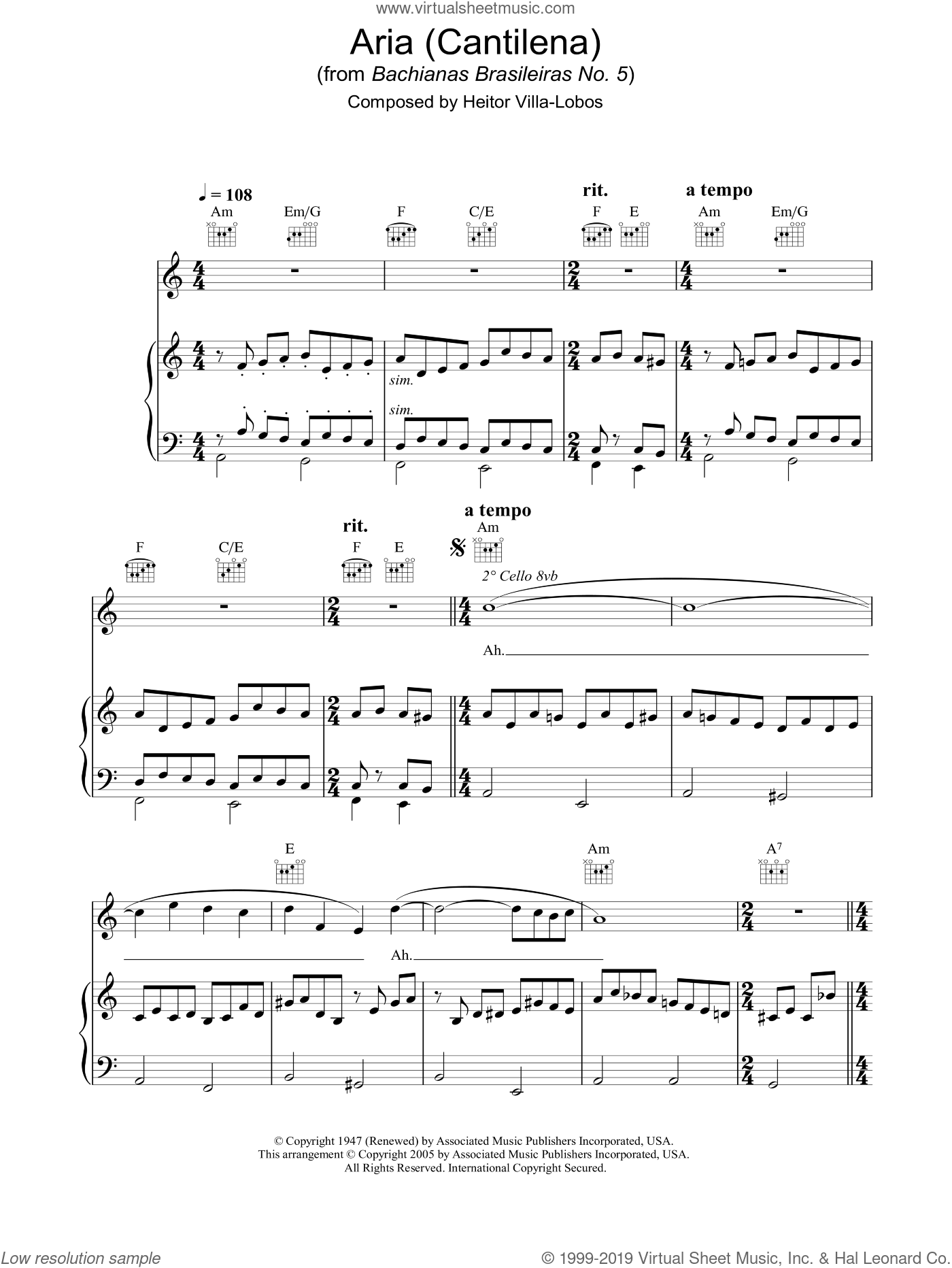 Aria (Cantilena) from Bachianas Brasileiras No. 5 sheet music for voice, piano or guitar by Hayley Westenra and Heitor Villa-Lobos, classical score, intermediate. Score Image Preview.