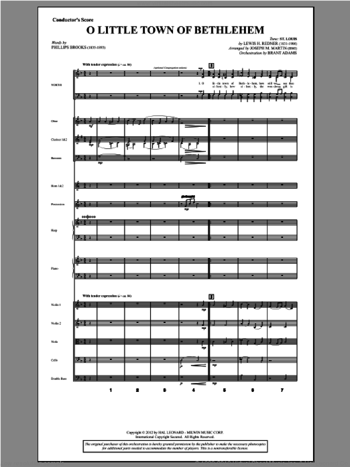 O Little Town Of Bethlehem (from Carols For Choir And Congregation) (COMPLETE) sheet music for orchestra/band by Joseph Martin and Joseph M. Martin, intermediate. Score Image Preview.