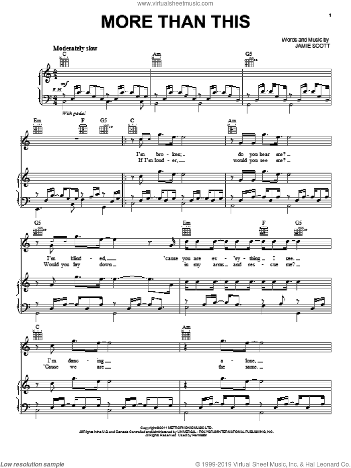 More Than This sheet music for voice, piano or guitar by One Direction, intermediate skill level