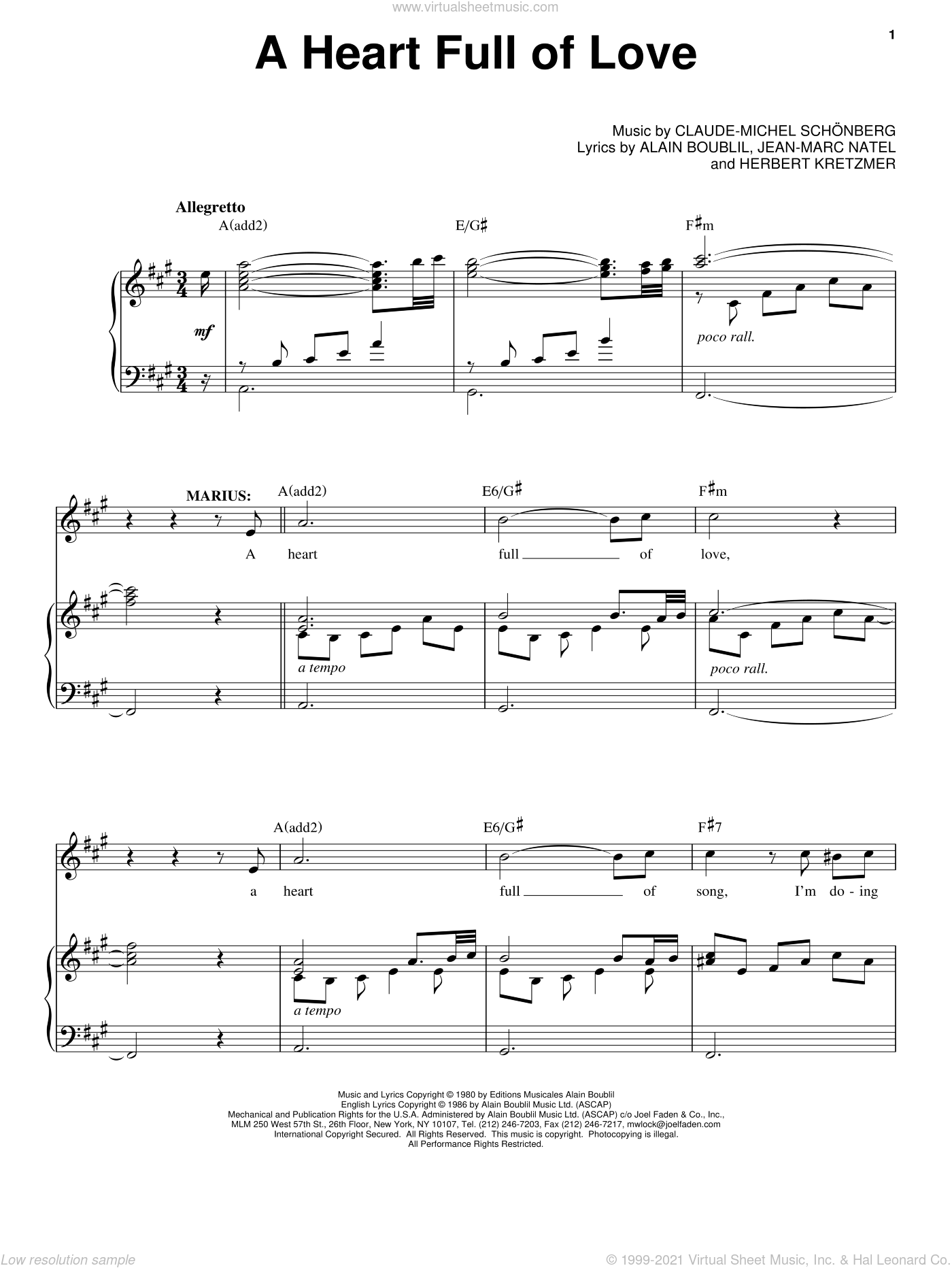 A Heart Full Of Love sheet music for voice and piano by Claude-Michel Schonberg and Alain Boublil, intermediate skill level