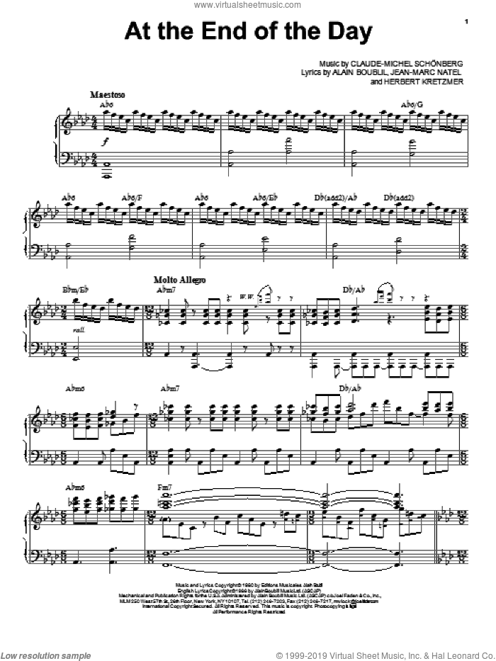 At The End Of The Day sheet music for voice and piano by Claude-Michel Schonberg and Alain Boublil, intermediate skill level