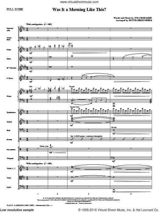 Was It A Morning Like This? (COMPLETE) sheet music for orchestra by Jim Croegaert and Keith Christopher. Score Image Preview.