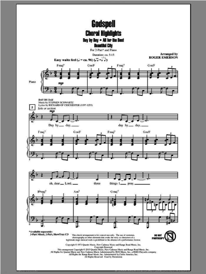 Godspell (Choral Highlights) sheet music for choir (duets) by Roger Emerson and Stephen Schwartz. Score Image Preview.