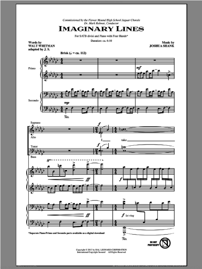 Imaginary Lines sheet music for choir and piano (SATB) by Joshua Shank. Score Image Preview.