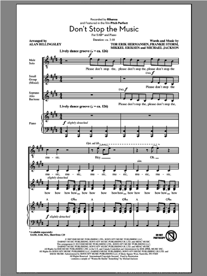 Don't Stop The Music sheet music for choir (SAB: soprano, alto, bass) by Alan Billingsley and Rihanna, intermediate