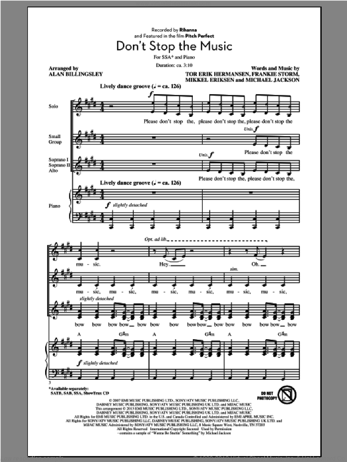 Don't Stop The Music sheet music for choir (soprano voice, alto voice, choir) by Alan Billingsley and Rihanna. Score Image Preview.