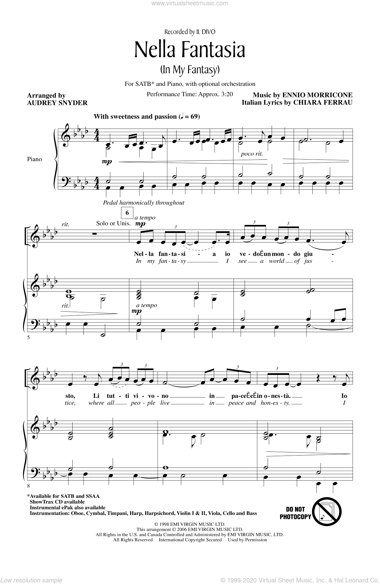 Nella Fantasia (In My Fantasy) sheet music for choir and piano (SATB) by Ennio Morricone