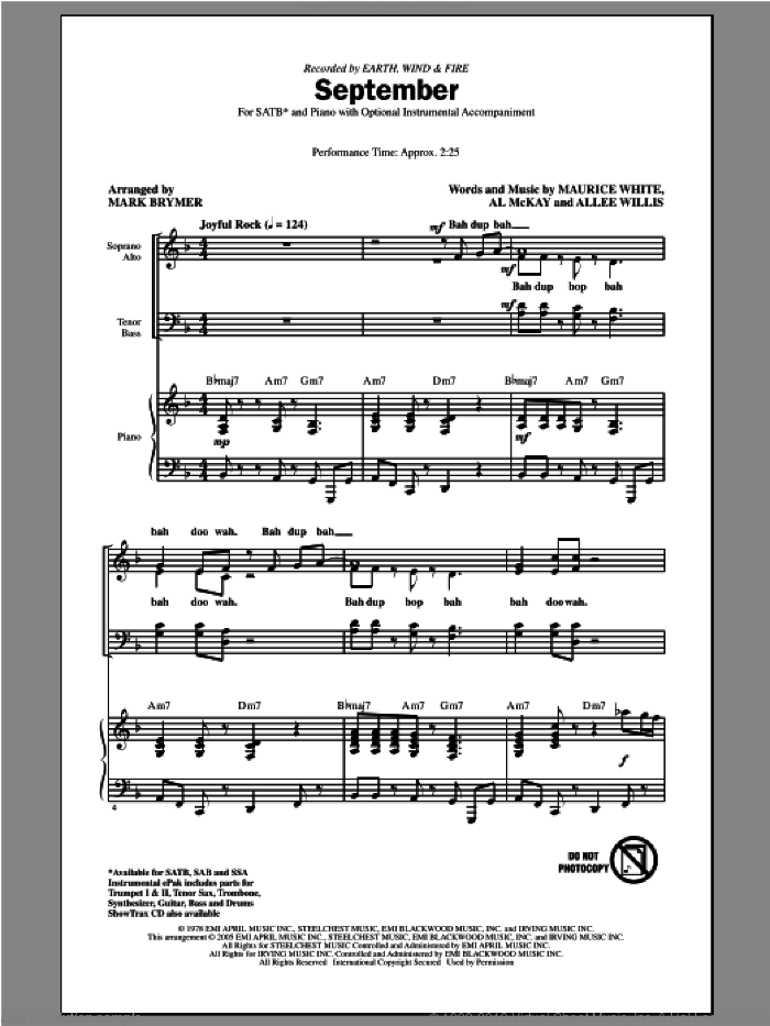 September sheet music for choir and piano (SATB) by Mark Brymer