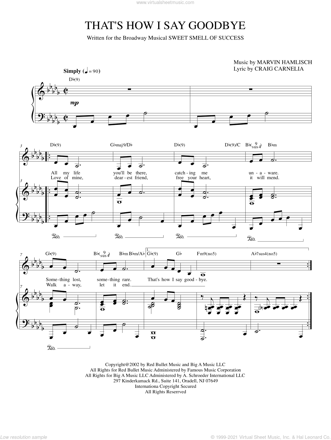 That's How I Say Goodbye sheet music for voice and piano by Marvin Hamlisch and Craig Carnelia, intermediate skill level