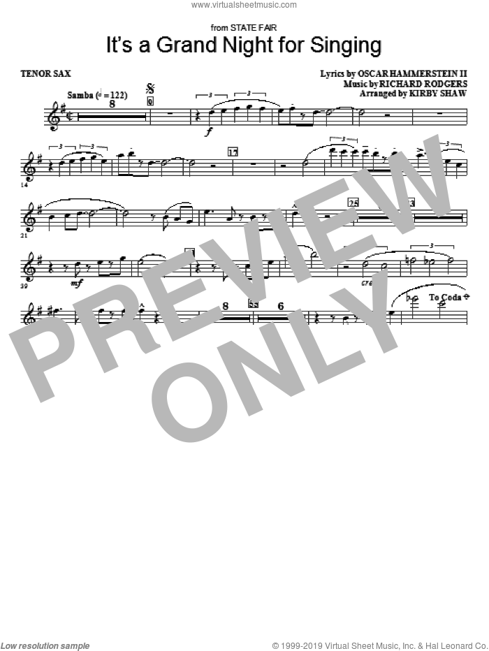 It's a Grand Night for Singing sheet music for orchestra/band (tenor sax) by Richard Rodgers