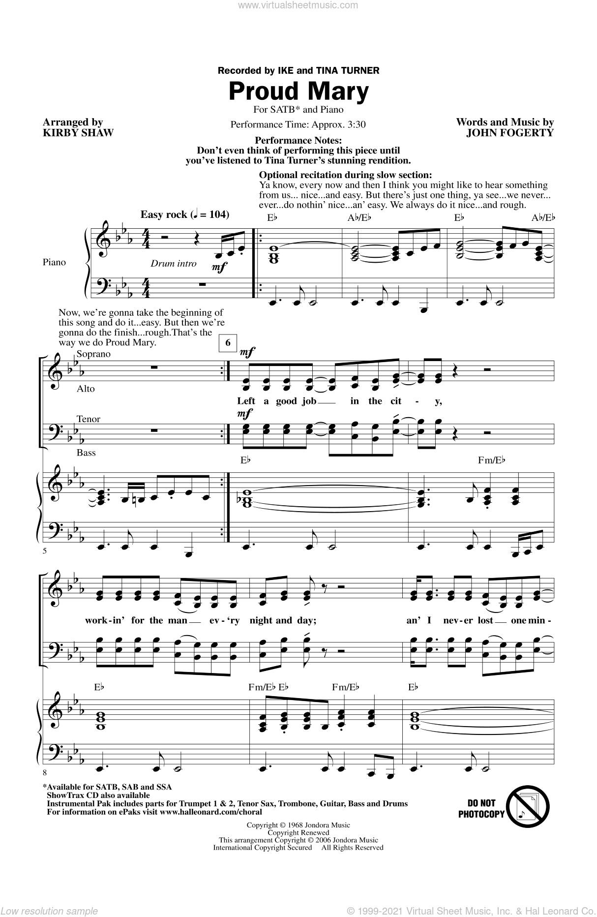 Proud Mary sheet music for choir (SATB: soprano, alto, tenor, bass) by Kirby Shaw, Creedence Clearwater Revival and Tina Turner, intermediate skill level