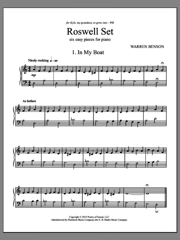 Roswell Set sheet music for piano solo by Warren Benson, intermediate skill level