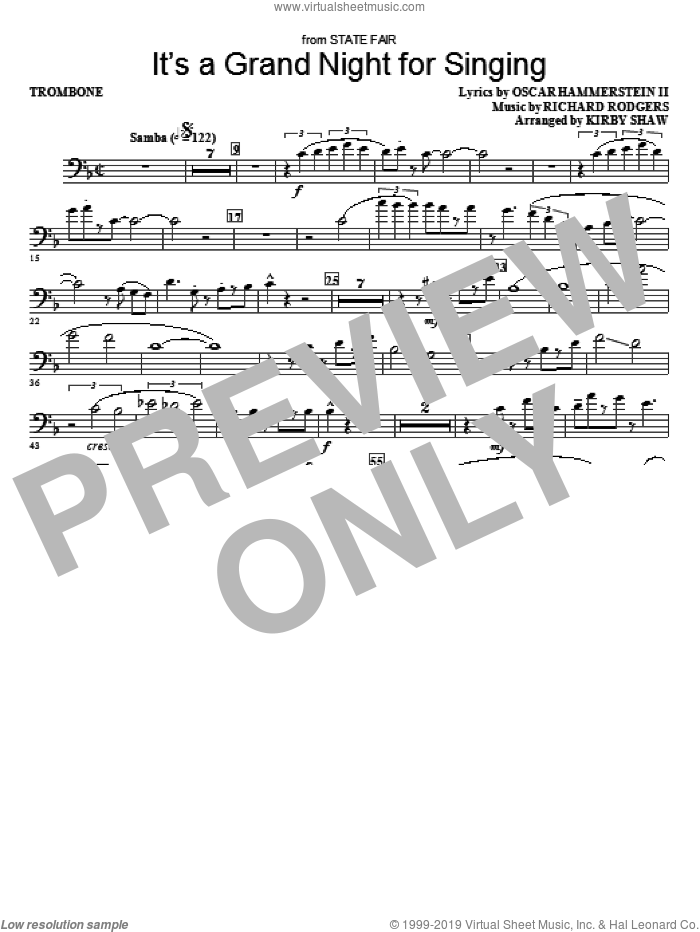 It's a Grand Night for Singing sheet music for orchestra/band (trombone) by Richard Rodgers