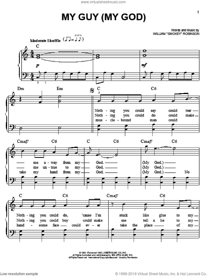 My Guy sheet music for piano solo by William 'Smokey' Robinson, easy. Score Image Preview.