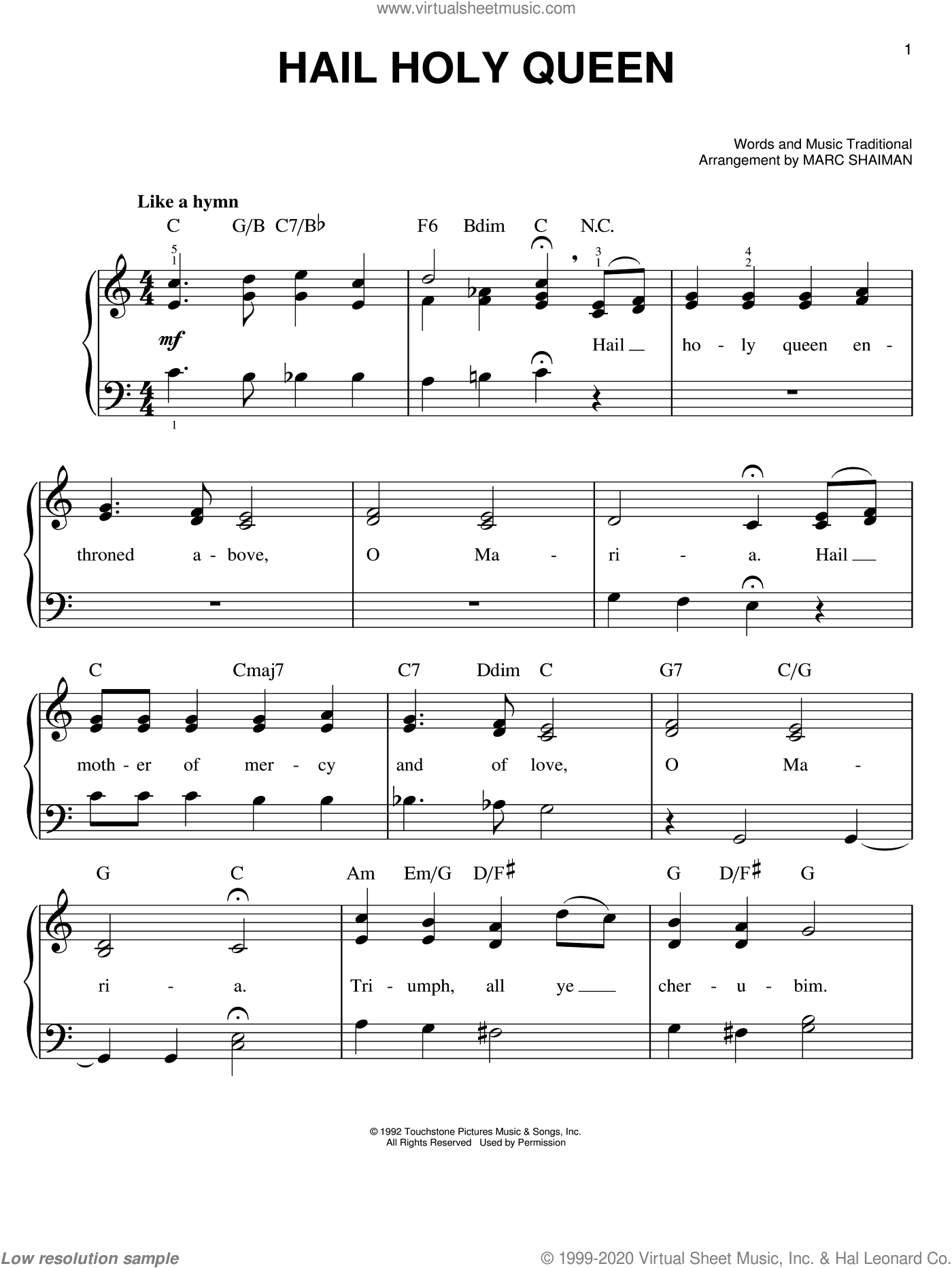 Hail Holy Queen sheet music for piano solo by Marc Shaiman, easy. Score Image Preview.