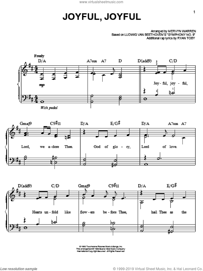 Joyful, Joyful sheet music for piano solo by Mervyn Warren, easy skill level