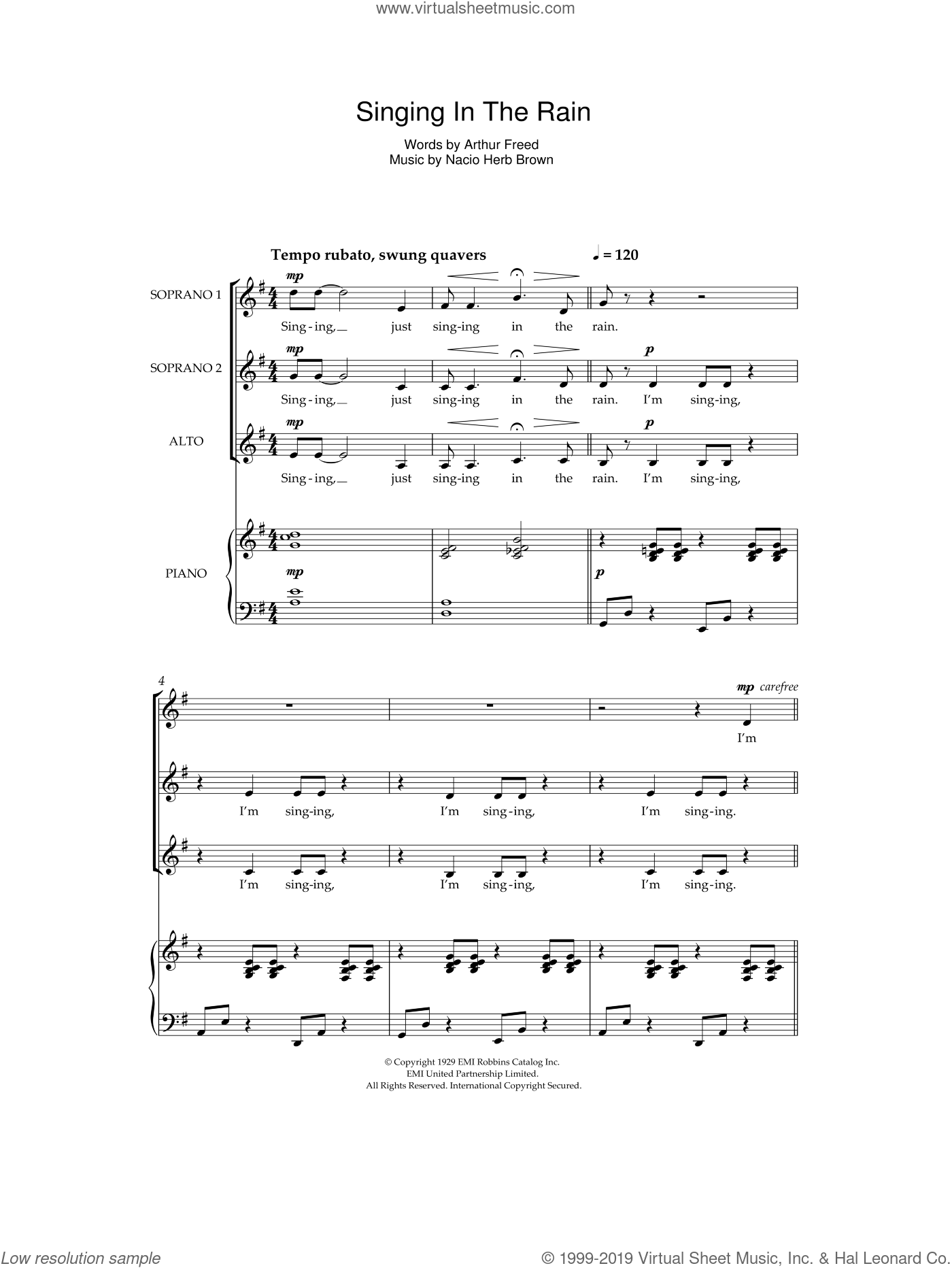 Singin' In The Rain sheet music for choir by Nacio Herb Brown, Gene Kelly and Arthur Freed. Score Image Preview.
