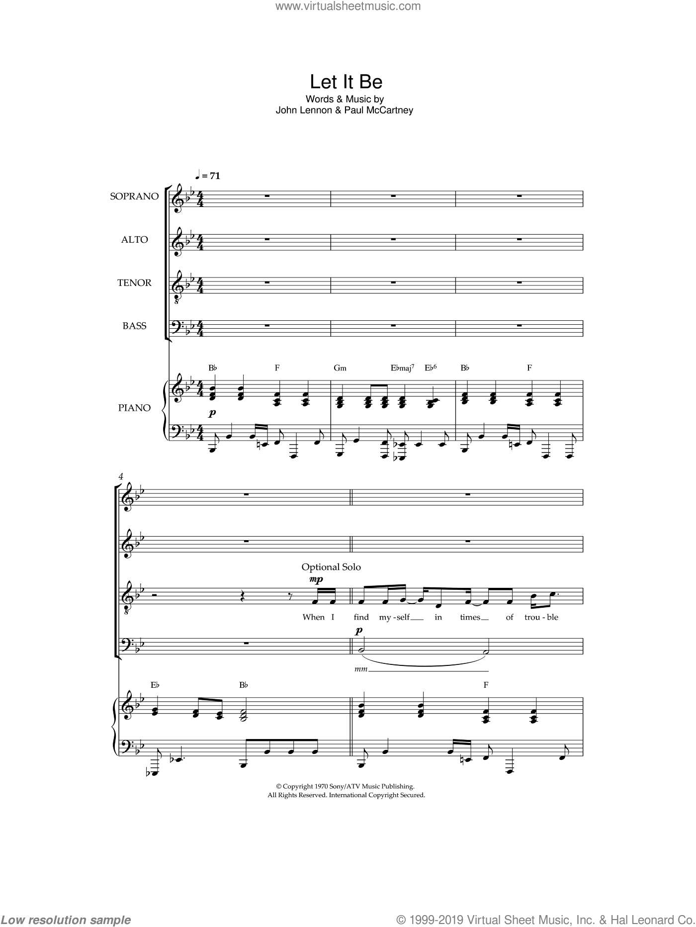 Let It Be sheet music for choir by Paul McCartney, The Beatles and John Lennon. Score Image Preview.