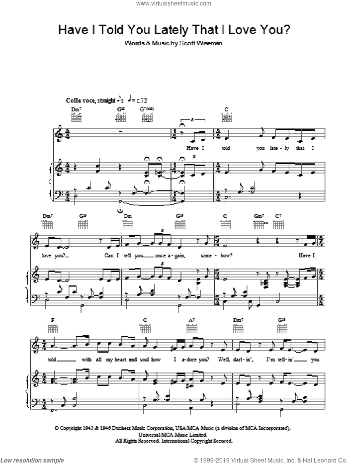 Have I Told You Lately That I Love You? sheet music for voice, piano or guitar by Michael Buble and Scott Wiseman, intermediate voice, piano or guitar. Score Image Preview.