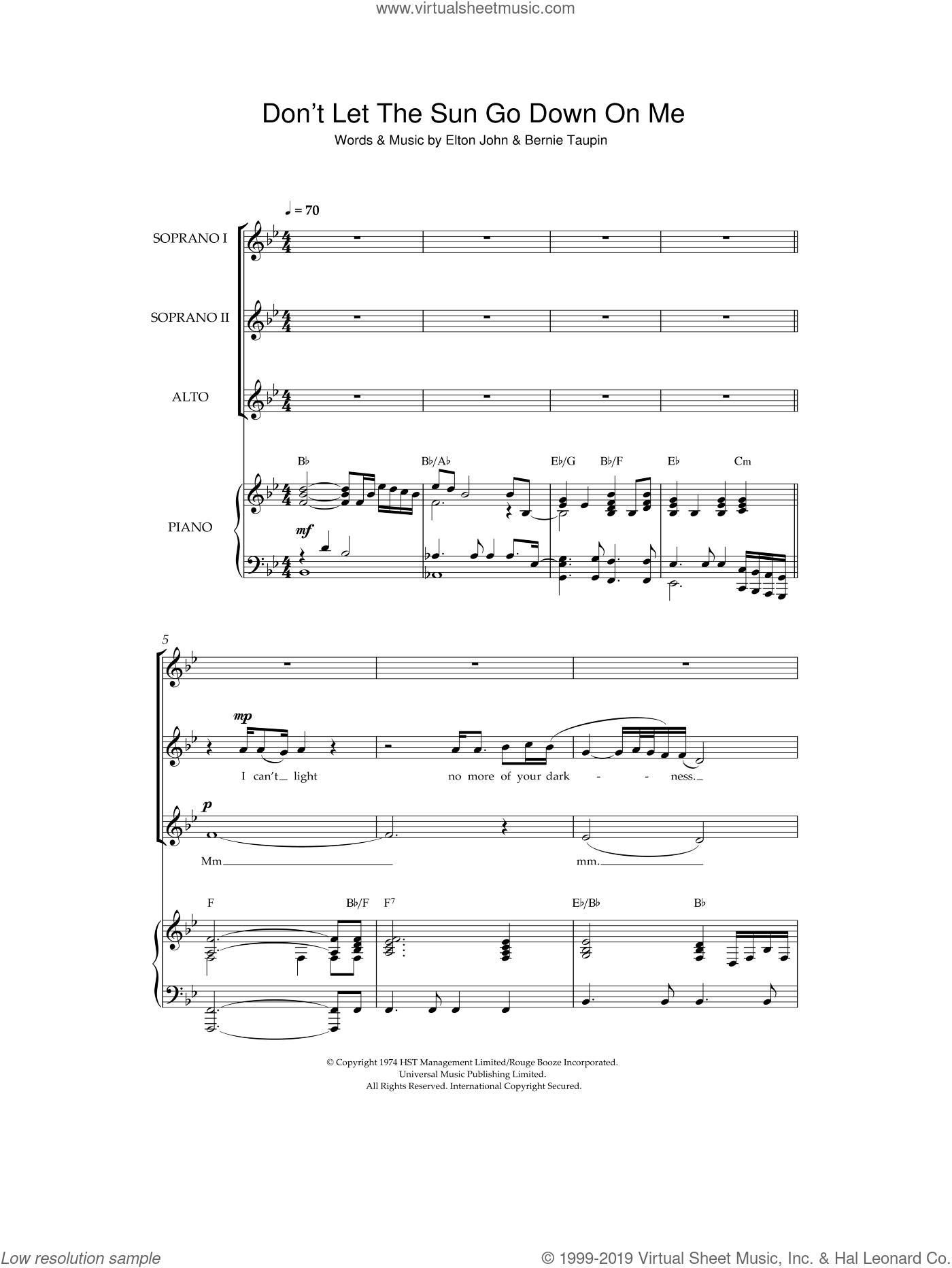 Don't Let The Sun Go Down On Me sheet music for choir and piano by Bernie Taupin and Elton John. Score Image Preview.